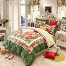 Spring Green and Red Traditional Flower Garden Tribal Egyptian Cotton Full, Queen Size Bedding Sets