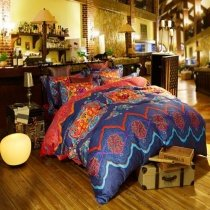 Orange and Blue Romantic Warm Wedding Themed Tribal Print 100% Egyptian Cotton Full, Queen Size Bedding Sets