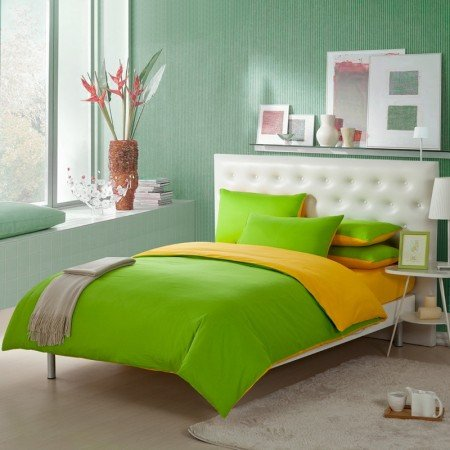 Lime Green and Lemon Yellow Solid Pure Color Simply Shabby Chic Full, Queen Size Bedding Sets