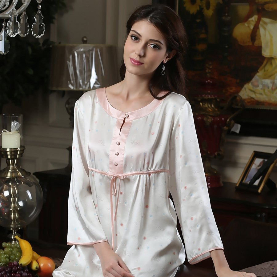 Retro Reminiscence Romantic Luxury Crewneck Women 100% Mulberry Silk Pajamas