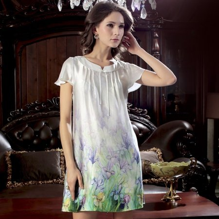 Summer Silk Pajamas Floral Vintage Fold Slips Fresh Country Breathable Crewneck