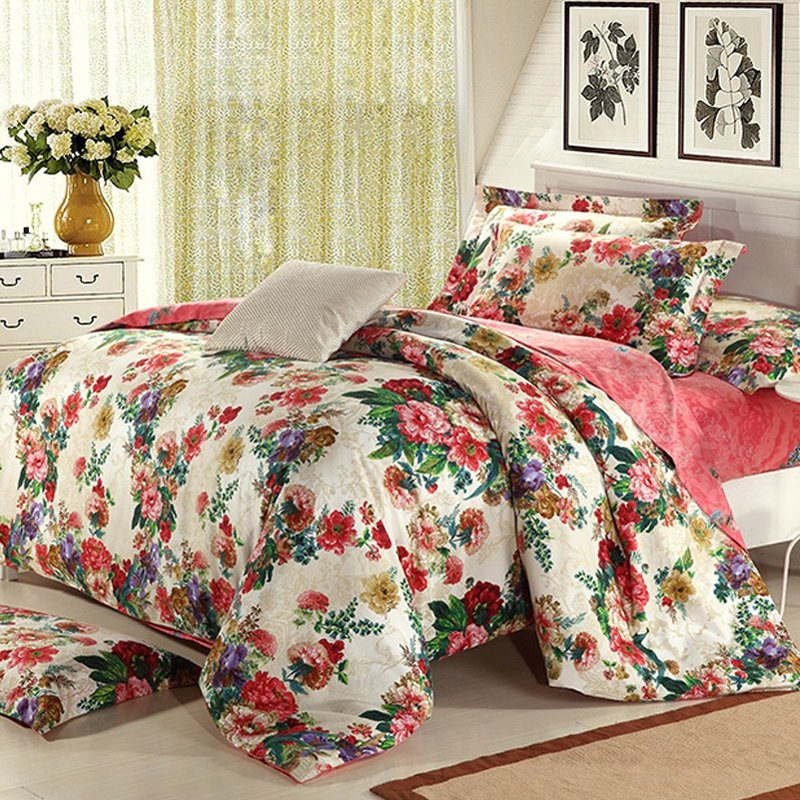 Orange Beige and Green French Country Floral Print Full, Queen Size 100% Brushed Cotton Bedding Sets