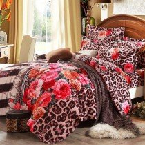 Brown Pink and Orange Sexy Jungle Safari Themed Leopard and Flower Print Vintage Chic Twin, Full, Queen Size Bedding Sets