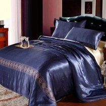 Navy Blue Night Galaxy Scene Luxury Elegant 100% Mulberry Silk Full, Queen Size Bedding Sets