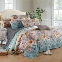 Powder Blue Beige and Buff Moroccan Pattern and Floral Print Exotic Luxury Nature 100% Egyptian Cotton Full, Queen Size Bedding Sets