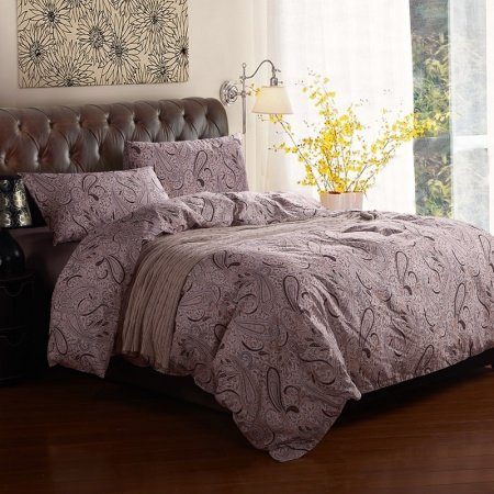 Chocolate Brown and Beige Traditional Western Paisley Pop Print Fashion Unique 100% Cotton Full, Queen Size Bedding Sets for Adult