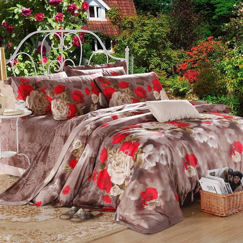 Brown and Red Rose Garden Retro Style Luxury Exotic Southwestern Personalized 100% Egyptian Cotton Full, Queen Size Bedding Sets