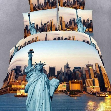 Rust Orange and Sky Blue American Statue of Liberty Print the Sunset Scene in New York City(NYC) Modern Chic Full Size 3D Design Bedding Sets