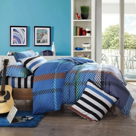 Sapphire Blue and Purple Diagonal Stripes and Plaid Print Contemporary Modern European Style Full, Queen Size Bedding Sets