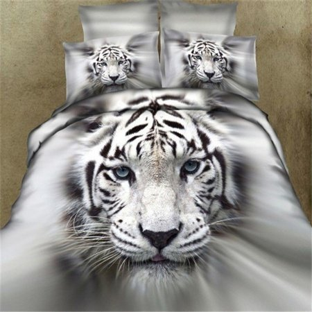Black Grey and White White Tiger Print The King of Forest Jungle Safari Unusual Kids Full Size Bedding Sets
