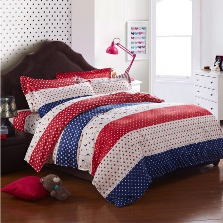 Dark Blue Beige and Red Moon and Star Print Night Starry Wide Stripe Polka Dot Design Girls and Boys 100% Cotton Full Size Bedding Sets