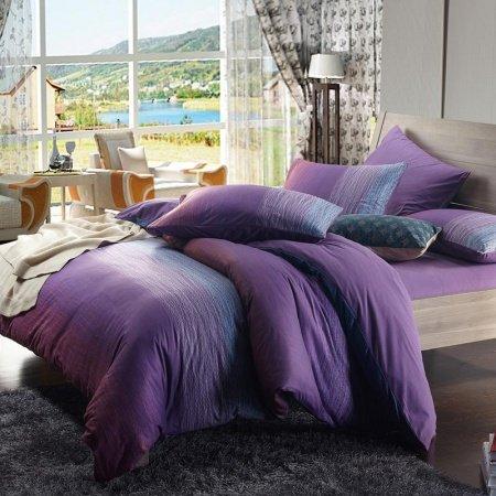 Twilight Purple and Dark Green Ocean Waves Stripe Print Girls Bedroom Full, Queen Size Damask Bedding Sets