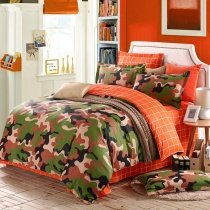 Burnt Orange Forest Green Brown and Beige Modern Camouflage Print Abstract Design Unique 100% Cotton Full, Queen Size Bedding Sets for Boys