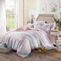 Pale Pink Light Blue and Gold Tribal Paisley Print Bohemian( BOHO ) Style Southwestern 100% Tencel Full, Queen Size Bedding Sets