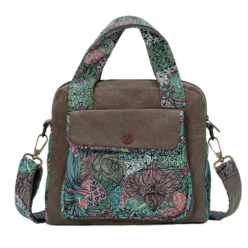 Viridian Green and Coffee Brown Country Style Antique Rose Flower Print Casual Canvas Zipper Small Women Purse Crossbody Tote Bag