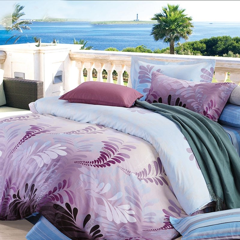French Lilac Light Blue and Gray Hawaiian Style Tropical Fern Leaf Print Exotic Vintage Chic Nature Damask Full, Queen Size Bedding Sets