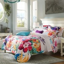 Girls Carmine Red Yellow Teal and Beige Tropical Colorful Hibiscus Floral Hawaiian Style Rustic Chic Luxury Damask Full, Queen Size Bedding Sets
