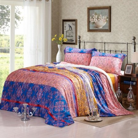 Royal Blue Gold and Thulian Pink Exotic Indian Tribal ...