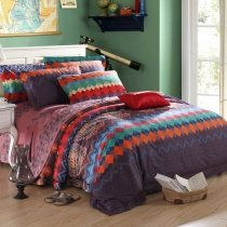 Coffee Orange and Blue Tribal Colorful Moroccan Style Aztec Stripe Print Geometric Pattern Luxury Egyptian Cotton Full, Queen Size Bedding Sets