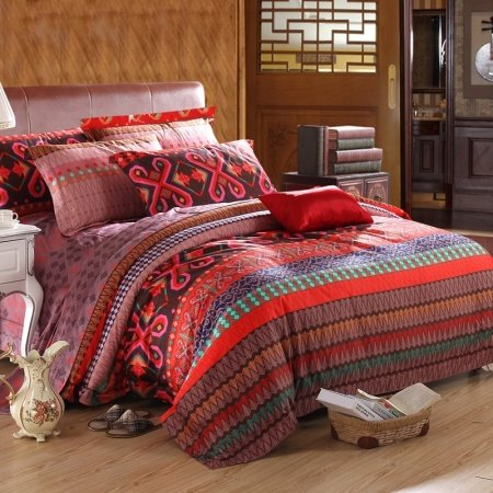 Red Brown and Blue Colorful Tribal Pattern Gypsy Themed Bohemian( BOHO ) Style Unique Luxury Egyptian Cotton Full, Queen Size Bedding Sets