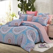 Light Blue Grey and Pink Folklore Pattern BOHO Style Circle Print Western Moroccan Themed 100% Cotton Damask Full, Queen Size Bedding Sets