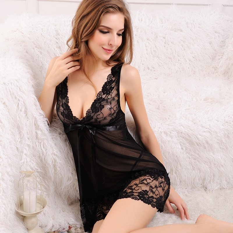 Black Vogue Retro Western Style Flower Embroidered Lace Bowknot Sexy See-through Grenadine Seductive Bud Silk Noble Girl V-neck Skirt Pajamas