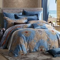 Steel Blue and Gold Rococo Pattern Indian Tribal Print BOHO Style Exotic Moroccan Themed Luxury 100% Egyptian Cotton Full, Queen Size Bedding Sets