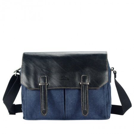 Dark Blue Canvas and Black Leather Trendy Luxury Crossbody Bag Retro Color Blocking Casual Take Cover Zipper Men Medium Single Shoulder Bag