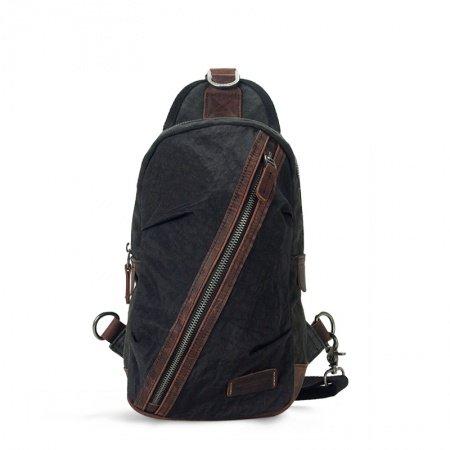 Black Canvas Nylon Casual Travel Men Boy Chest Bag Personalized Casual Retro Color Blocking Zipper Ruffle Sewing Pattern Small Crossbody Bag
