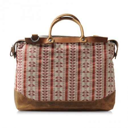 Reddish Brown and Beige Canvas Tote Korean Style Luxury Durable Crossbody Bag Bohemian Gypsy Tribal Print Embroidery Medium One Shoulder Bag