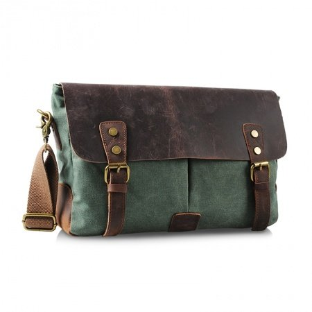 Sea Green Canvas Leather Messenger Bag Vintage European Style Vogue Personalized Casual Take Cover Zipper Small One Shoulder Crossbody Bag