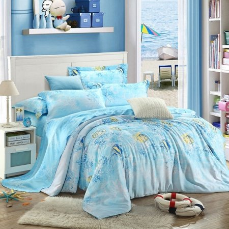 Aquamarine Blue Light Yellow and White Tropical Fish Print Marine Life Undersea World Hawaiian Style 100% Tencel Full, Queen Size Bedding Sets