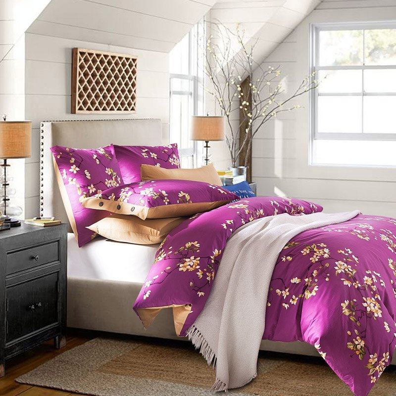 Mulberry Purple and Yellow Plum Flower Print Plant Garden Rustic Style Chinese Themed 100% Cotton Damask Girls Full, Queen Size Bedding Sets