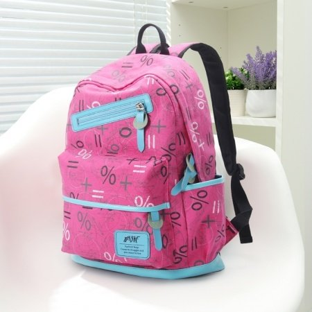 Magenta Pink Canvas with Blue Leather Trim Monogrammed Girls Satchel School Backpack Personalized Sewing Pattern Travel Bag
