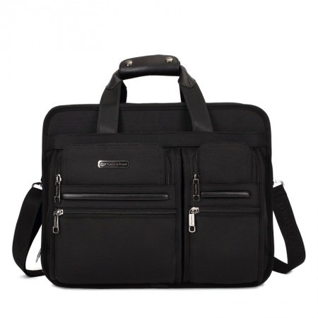 Solid Black Multiple Utility Pockets Oxford Casual Business Briefcase Laptop Purse Quilted Men Crossbody Shoulder Tote Bag