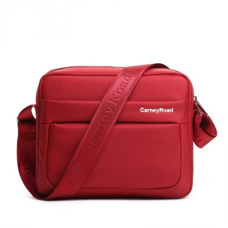 Solid Coral Red Contracted Oxford Small Cube-shaped Crossbody Shoulder Bag Casual Sewing Pattern Quilted Women Messenger Bag