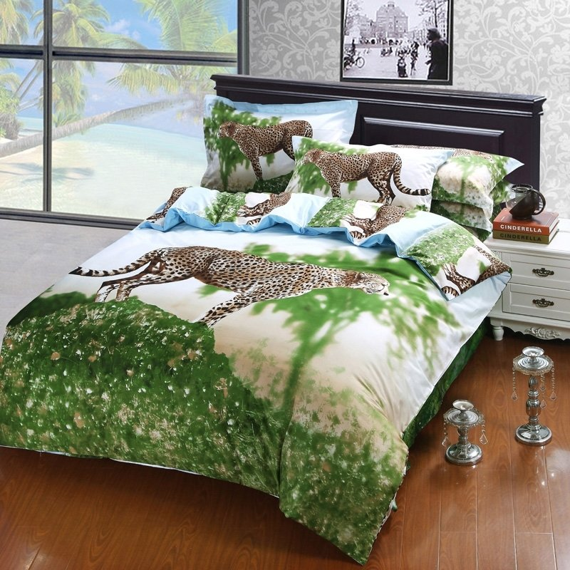 Forest Green White Brown Leopard Print Jungle Safari African Theme 3D Design 100% Cotton Damask Twin, Full Size Bedding Sets