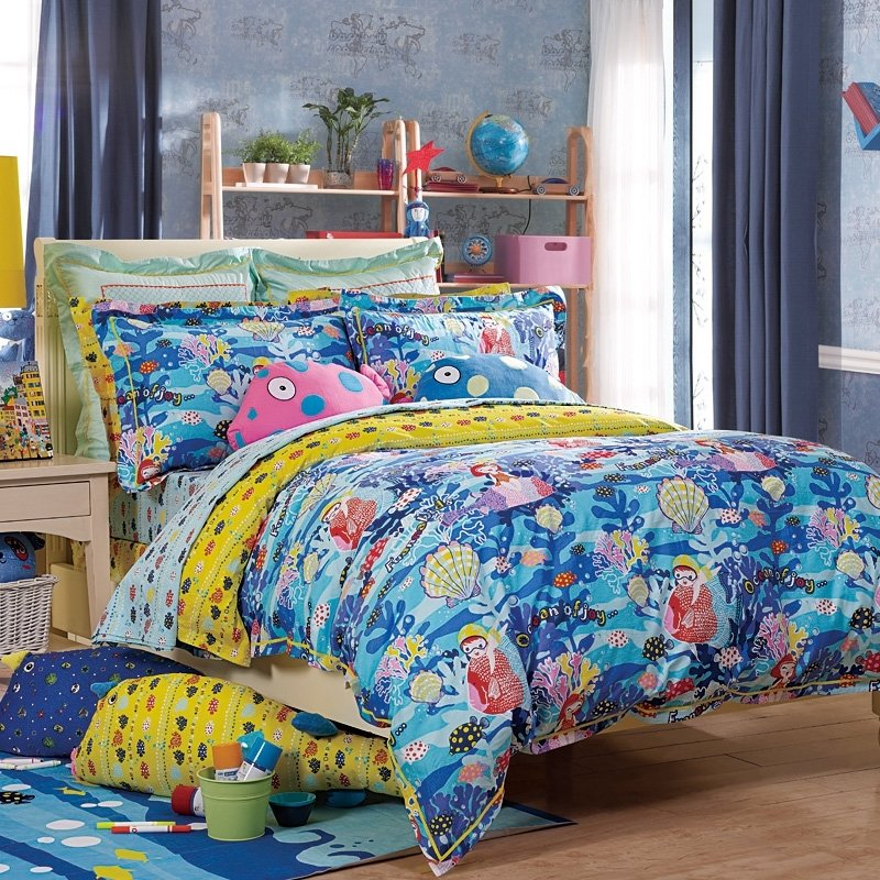 Ice Blue Yellow and Red Undersea World Coral and Seashell Print Cartoon Hawaiian Style Girls, Boys 100% Cotton Twin, Full Size Bedding Sets