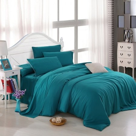 All Teal Plain Colored Luxury Noble Simply Chic Western Style Expensive Unique Reversible Microfiber Tencel Full, Queen Size Bedding Sets
