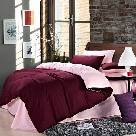 Maroon Red and Pink Womens Solid Color Simply Chic Vogue Cute Style Warm Microfiber 100% Cotton Percale Fabric Full, Queen Size Bedding Sets