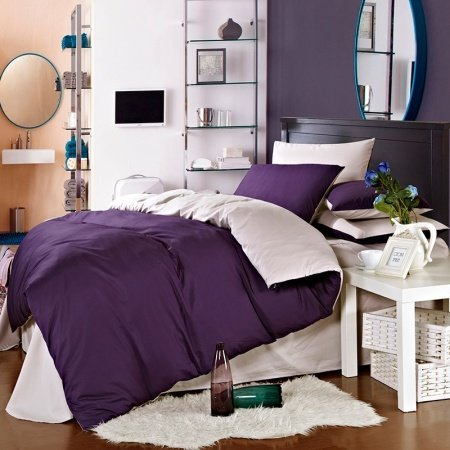 Deep Purple and Silver Plain Color Vintage Simply Chic Retro Style All Cotton Microfiber Percale Fabric Full, Queen Size Bedding Sets