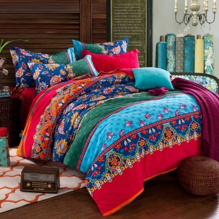 Red Aqua and Navy Blue Folklore Pattern Multi-color BOHO Style Exotic Tribal Print 100% Brushed Cotton Full, Queen Size Bedding Sets