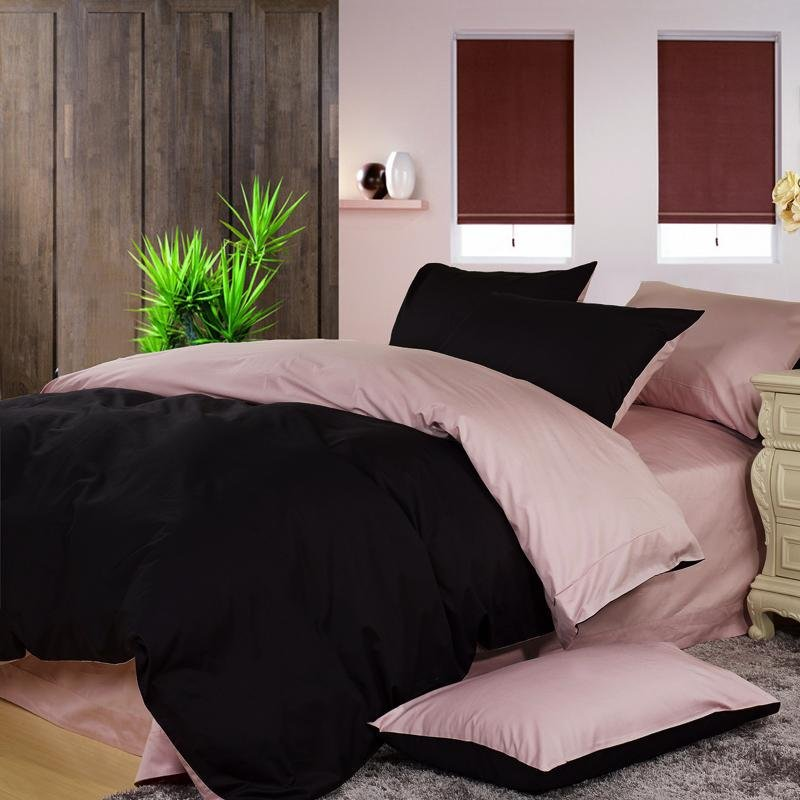 Pale Pink and Black Solid Pure Color Simply Shabby Chic Luxury Full, Queen Size Bedding Sets