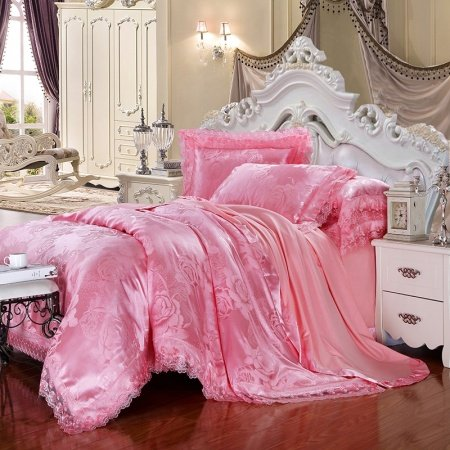 Girls Hot Pink English Rose Pattern Romantic Princess Style Luxury Lace Edge Sequin Jacquard Design Full, Queen Size Bedding Sets