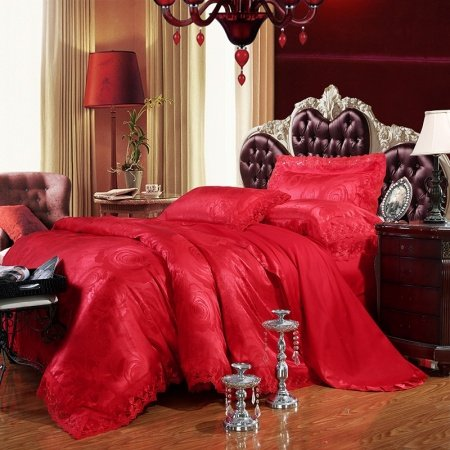 Chinese Red Yorkshire Rose Pattern Noble Excellence Luxury Lace Edge Sequin Jacquard Design Full, Queen Size Bedding Sets