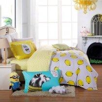 Lemon Yellow and White Lemon Print Chevron Stripe Hipster Style Reversible Personalized 100% Cotton Kids Twin, Full Size Bedding Sets