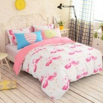 Pink and White Flamingo Print Animal Themed Modern Chic Cute Girly Themed Unique 100% Cotton Twin, Full Size Bedding Sets for Girls