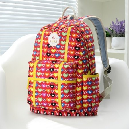 Red and Colorful Canvas With Yellow Leather Trim Victorian Heart Printed Women Travel Bag Elegant Cute Girls School Backpack
