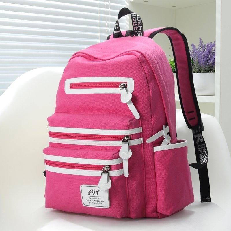 Hot Pink Canvas with White Leather Trim Water-proof Girls School Backpack Simply Chic Color Blocking Quilted Women Travel Bag