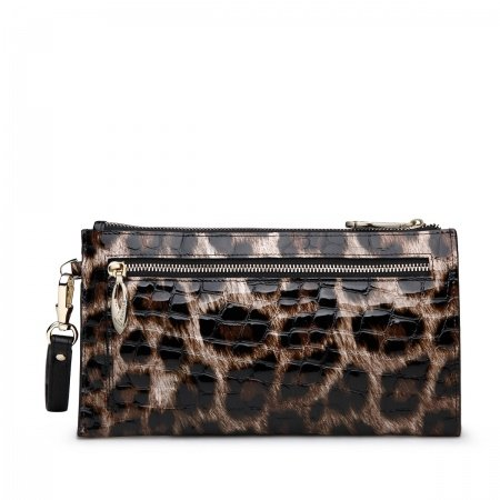 Black Brown Cowhide Genuine Leather Women Long Wallet Vogue Embossed Alligator Handle Bag Casual Party Women Evening Clutch Purse